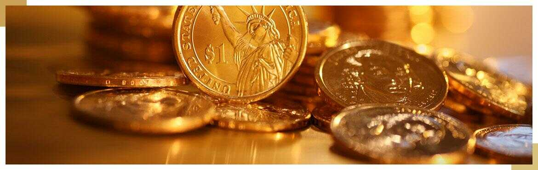 sztabka złota i monety